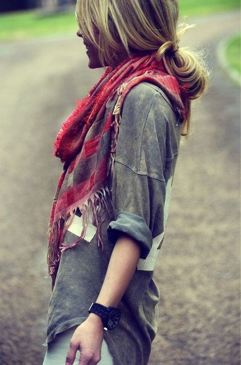 Slouchy tee and scarf with skinnies--great comfy look.