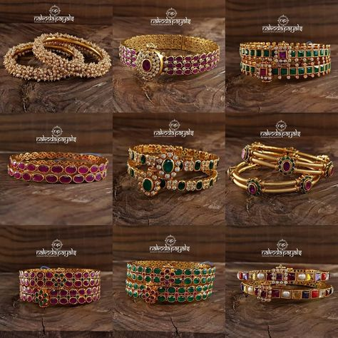 Pure Silver Gold Plated Bangles From Nakoda Payals ~ South India Jewels