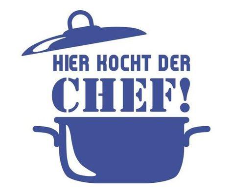 Hier Kocht der Chef, Chef Wall Sticker Happy Larry Paint: Brilliant blue, Size: 109 cm H x 100 cm W