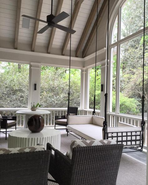 outdoor rooms I'm prepping for my trip to New Orleans this weekend and continue to be inspired by charming Southern Porches that act as an extension of the home inside. Back Porch Designs, Screened Porch Designs, Screened In Porch, Porch Bed, Porch Swings, Southern Porches, Southern Homes, Southern Charm, Rustic Porches