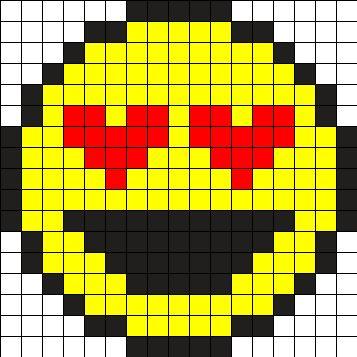 Emoji Smiley Love Perler Bead Pattern Kanaviçe