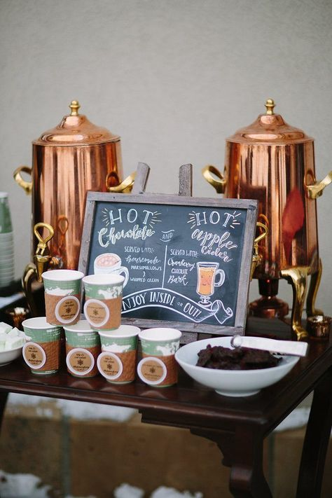 Hot chocolate and cider bar at winter wedding. Hot chocolate and cider bar at winter wedding. Bonfire Night Wedding, Fall Wedding Drinks, Fall Wedding Bouquets, Fall Wedding Colors, Wedding Reception, Reception Ideas, Wedding Venues, Wedding Dresses, Wedding Table