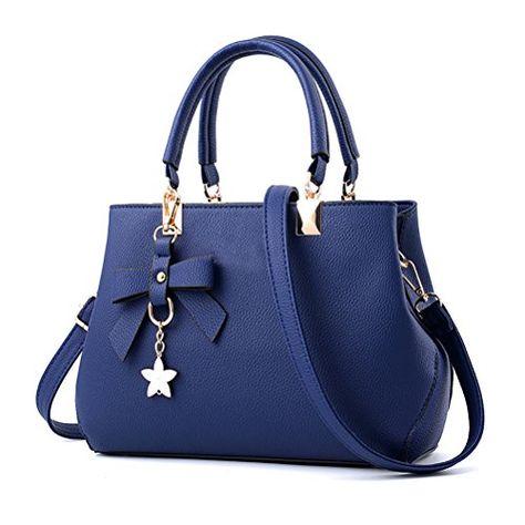 d097243f81 URAQT Sac à Main Femme Bandoulière Sac Pochette Sac portés main en PU Cuir  pour les cours Bleu Cadeaux De La Fête Des Mères