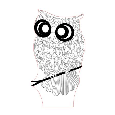 Big Eyed Owl 3d Illusion Lamp Plan Vector File For Laser And Cnc 3bee Studio 3d Illusion Lamp 3d Illusions Illusions