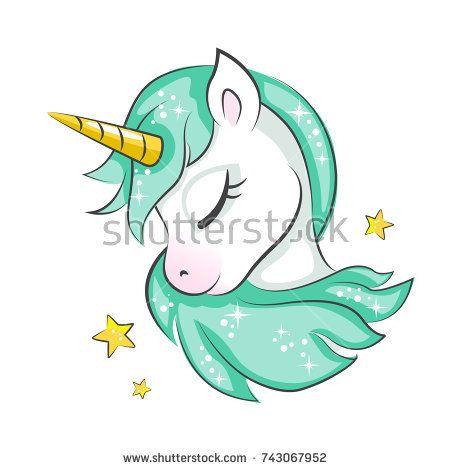 Cute Magical Unicorn Vector Design Isolated On White Background Print For T Shirt Or Sticker Ilustracion De Unicornio Dibujos De Unicornios Unicornio Bonito