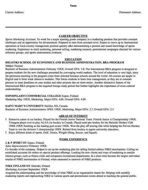 Sample Resume Sports Marketing Assistant -    resumesdesign - soccer resume for college
