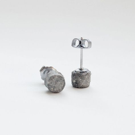 Round Concrete Earring Studs - Grey and Multicolored Concrete Jewelry via Etsy