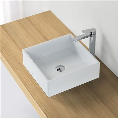 Minimalist White Square Vessel Sink Modern Bathroom Sink Top Bathroom Design Bathroom Sink Design White square vessel sink