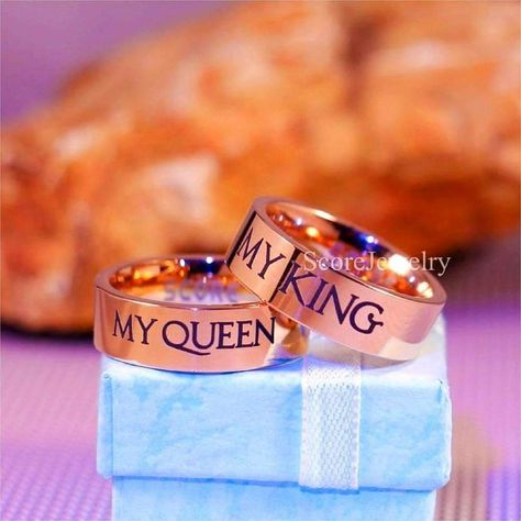 2 Piece Couple Set Rose Gold Tungsten Bands with Flat Edge My Queen My King Matching Wedding Bands - Tungsten Rings Outfits, Outfit Ideas, Outfit Accessories, Cute Accessories