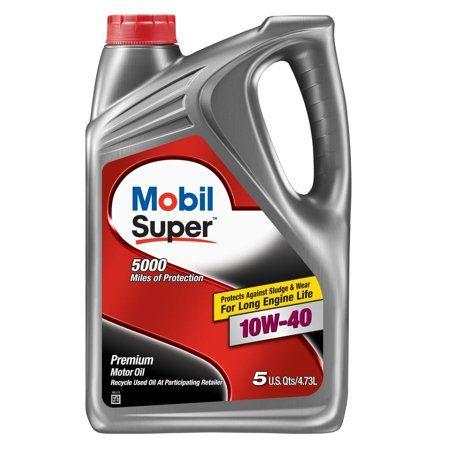 Mobil Super Synthetic Blend Motor Oil 10w 40 5 Quart Walmart Com Motor Oil Oil Additives Oil Change