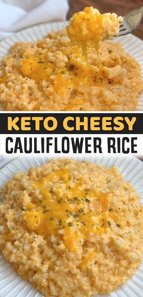 A healthy, easy and low carb cauliflower rice recipe that is really simple to make with just a handful of ingredients! This quick and easy cauliflower rice recipe is better than mac n' cheese. I'm not kidding. Not only is it incredibly delicious, it's low in carbs and keto-friendly. No guilt here! Serve it with chicken, steak, fish or anything else you'd like. Either way, it's soon going to be your new favorite low carb side dish for just about every meal. Simple to make with frozen rice!