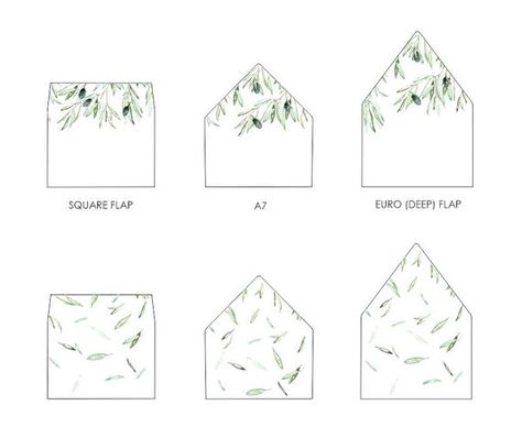 Olive Leaves Envelope Liner Template A7 Euro Flap Square Flap