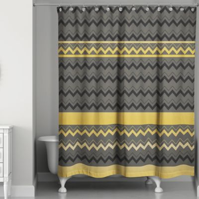 The Chevron Stripes Shower Curtain Makes A Chic Statement In Your Bathroom Its Geometric Pattern Invigorates D Striped Shower Curtains Curtains Chevron Stripe
