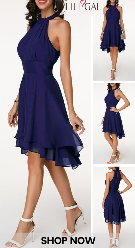 USD31.85   High Waist Sleeveless Asymmetric Hem Navy Blue Dress   #liligal #dresses