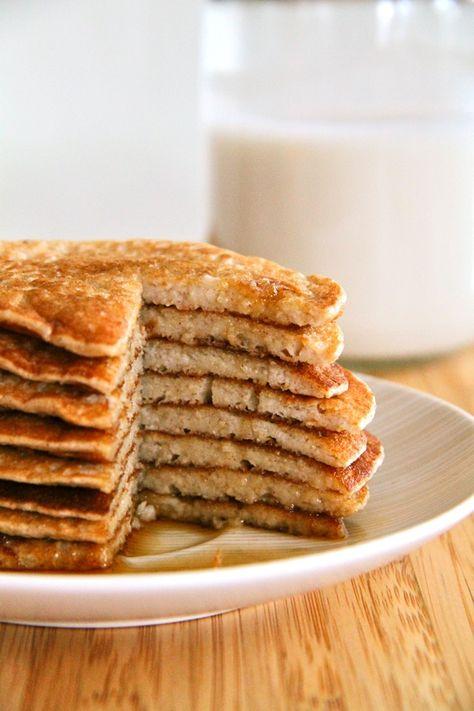 . banana oat greek yogurt pancakes .