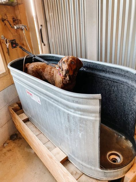 dog rooms Are you a dog lover Need to wash your dogs somewhere else other than your shower Here is an easy guide amp; everything you need to how to make our DIY Dog Wash Station we have in the barn! Diy Dog Wash, Diy Pet, Dog Washing Station, Dog Station, Dog Feeding Station, Dog Rooms, Dog Life, Fur Babies, Your Dog