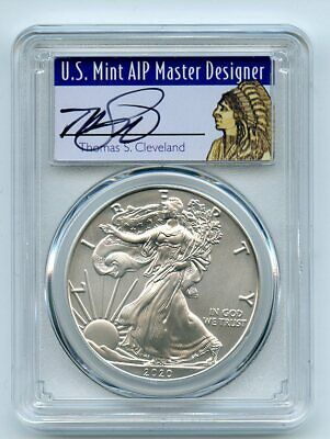 2020 1 American Silver Eagle 1oz Pcgs Ms70 Fdoi Thomas Cleveland Native Serial Numbers May Vary Populatio In 2020 American Silver Eagle Silver Eagles Silver Bullion