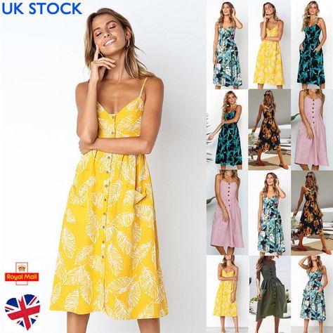 0af799edde3 UK Womens Floral Print Ladies Button Midi Dress Summer Beach Holiday Size 6- 22