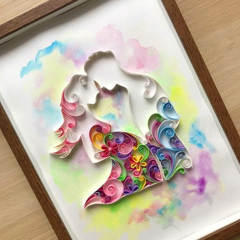 Excited to share this item from my #etsy shop: Quilling 3D New Baby Card - Expecting Card - Watercolor Handmade Card - Card with pregnant women - Pretty Card
