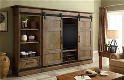 Hunts Point 4 Piece Sliding Door Entertainment Wall in Weathered Pine Finish by Parker House - HPT-1063-4 - Interior barn doors #Barn #centrodeentretenimientodemadera #Door #Doors #Entertainment #finish #house #HPT10634 #Hunts #Interior #Parker #Piece #pine #Point #Sliding #Wall #weathered
