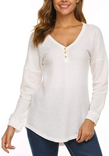 Women Waffle Blouse Long-Sleeve V Neck T-Shirt Top Tee