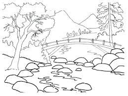 Image Result For Simple Line Drawings Of Landscapes To Print Coloring Pages Nature Nature Drawing For Kids Summer Coloring Pages