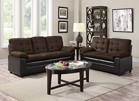 Buy GTU Furniture 2-Tone Microfiber Sofa  Loveseat Set, 5 Colors Available (Chocolate) online - Nexttrendyfashion#2tone #buy #chocolate #colors #furniture #gtu #loveseat #microfiber #nexttrendyfashion #online #set #sofa