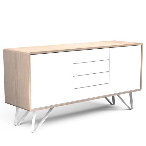 Bahut Chêne Et Blanc Design Scandinave 100 Made In France