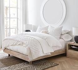 Leesa Platform Bed With Built In Usb Charging Port Wooden Beds Pottery Barn In 2020 Platform Bed White Bedding Wood Platform Bed