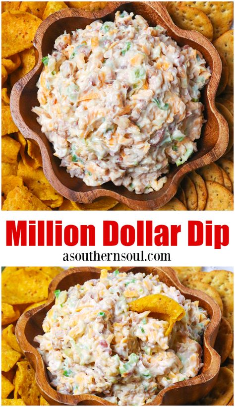 Million Dollar Dip Made With Just A Few Simple Ingredients Is Totally Addictive And Deserving Of Its Name This Easy Dip Recipe Made With Cheese, Bacon, Green Onions, Almonds And Mayo Is Great To Serve At Parties, For Game Day Or When Youre Entertaining. Easy Appetizer Recipes, Simple Appetizers, Dip Recipes For Parties, Easy Dip Recipes, Southern Appetizers, Southern Food, Dinner Recipes, Gluten Free Puff Pastry, Bacon Dip
