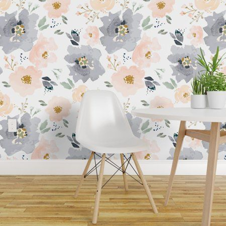 Peel And Stick Removable Wallpaper Floral Peach Navy Walmart Com In 2021 Wallpaper Accent Wall Floral Wallpaper Removable Wallpaper