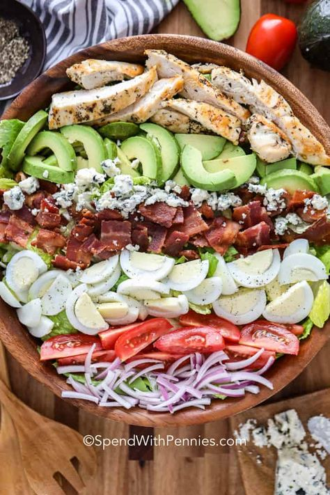 This cobb salad recipe is made with a tangy vinaigrette that brings it all together! Toss the lettuce, bacon, tomatoes, avocados and other fresh ingredients with this dressing for a flavor packed summer salad! #spendwithpennies #cobbsalad #entreesalad #maindish #salad #healthyrecipe