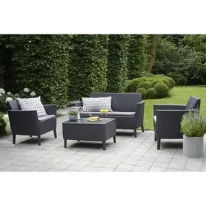 Salon De Jardin En Imitation Resine Tressee Allibert 4 Personnes Salemo Graphite Salon De Jardin Allibert Salon D Exterieur Mobilier Jardin