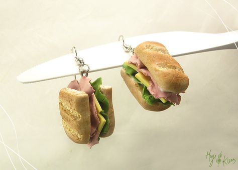 Sandwich Earrings Sandwich Jewelry Snack by HugsKissesMINI on Etsy