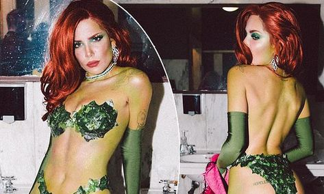 She hosted a very exclusive Halloween party this weekend. And all eyes were on Halsey as she slipped into the role of Batman's Poison Ivy for her Friday soiree. Posion Ivy Costume, Poison Ivy Halloween Costume, Cute Couple Halloween Costumes, Celebrity Halloween Costumes, Trendy Halloween, Halloween Outfits, Halloween Party, Couple Costumes, Halloween Makeup