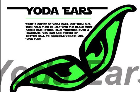 Yoda Ears Template | Yoda Ears Printable By Ashatythomas On Etsy Projects To