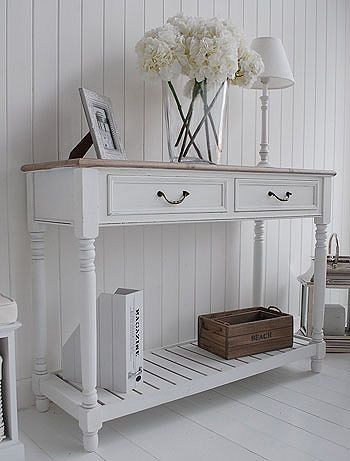 Charming Console Tables For Hall And Living Room Furniture In Grey, White And Cream.  Brittany Large Console Table With Shelf And Drawers In White | Pinterest |  Large ...