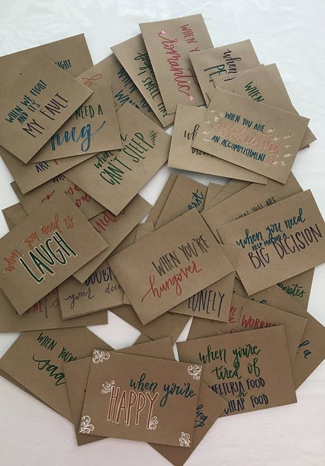 These envelopes are hand-lettered, hand-designed, and hand-made with love!  This is the perfect going away present for a loved one who is moving or heading off to school! They are totally custom hand-lettered envelopes (in any color you chose!*) to say whatever you wish. You write the heartwarming notes, and I make the envelopes to let the loved one know when to open them! This is such a wonderful way to still be with your loved one during certain moments no matter how far away you may be. ❉ ...