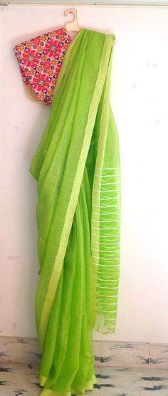 Lime green semi tussar silk saree with Kutch work unstitched blouse / sari
