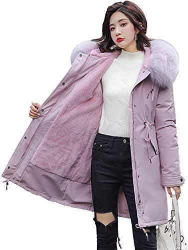 Cromoncent Girl Cute Thick Hooded Coat Sherpa Warm Parkas Jackets