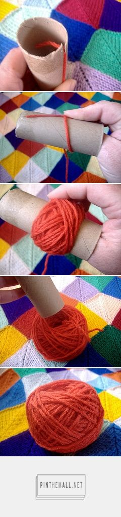 Tutorial for making center pull balls of yarn using a toilet paper or paper towel roll.