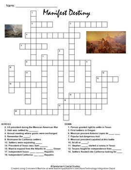 Manifest Destiny Crossword Puzzle Worksheet | Destiny ...