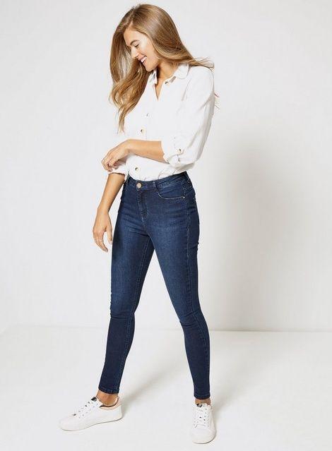 Ladies Sculpt /& Lift Mid Rise Skinny Leg Indigo Stretch Denim Jeans
