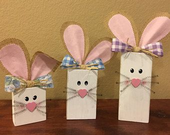 Easter Block Set Wood Easter Decor Spring Decorations Holiday Wood Sign 2x4 Bunny Block Set Woode Spring Easter Crafts Easter Crafts Diy Easter Wood Crafts