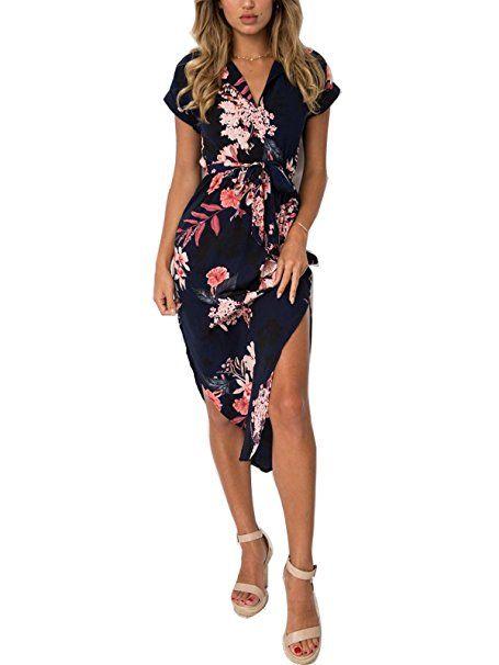 53e46b8ea26 PORALA Womens Summer Dresses V-Neck Casual Work Geometric Pattern Midi  Floral Print Belted Pencil Dress(XS-XXXL) at Amazon Women s Clothing store