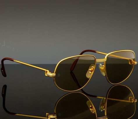 70ae56b9ab068a Cartier Sunglasses (Men s Pre-owned Vintage 18K Gold Plated Aviator Paris  Designer Sun Glasses)