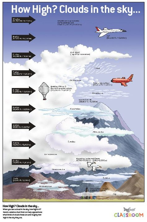 WEATHER An infotoon on the heights of clouds. Here's a relative chart that can help approximate what kinds of clouds those are and roughly how high in the sky they are. Click the image for a larger, classroom friendly version.