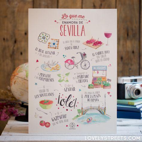 Print Lovely Streets - Lo que me enamora de Sevilla - Mr. Wonderful  #mrwonderful #mrwonderfulshop #mrwonderfulUK #lovelystreets #travel #adventure #wanderlust #traveltheworld #travelblogger #seville #sevilla #spain