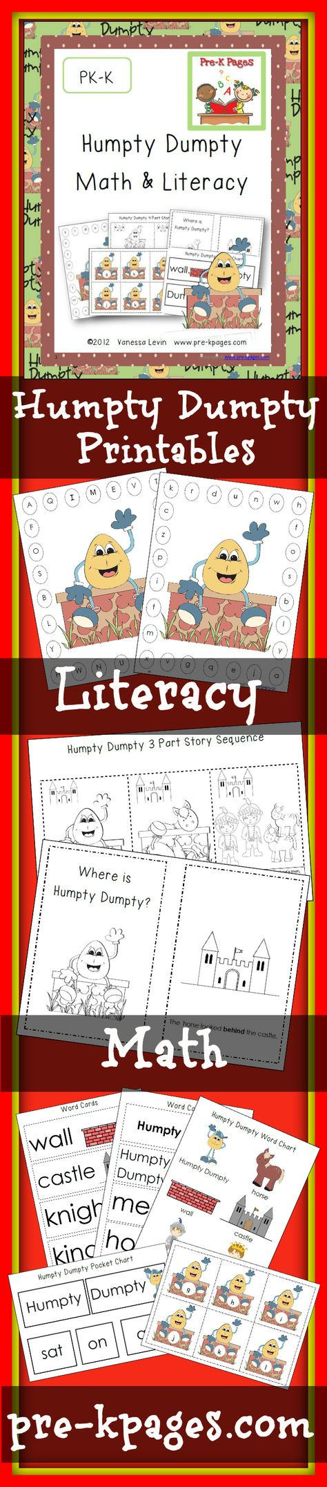 82 pages of literacy and math printables for the nursery rhyme Humpty