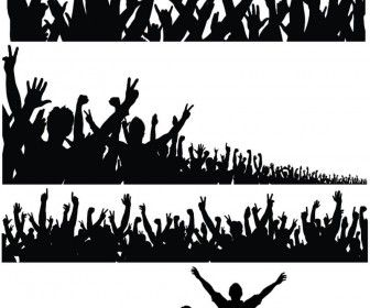 Silhouette Of A Crowd Of People With Their Hands Raised Silhouette Clip Art Vector Free